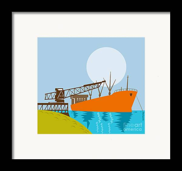 Illustration Framed Print featuring the digital art Crane Loading A Ship by Aloysius Patrimonio