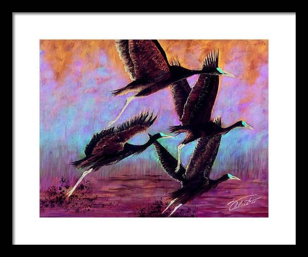 Birds Framed Print featuring the painting Cranes In Flight by Dennis Vebert