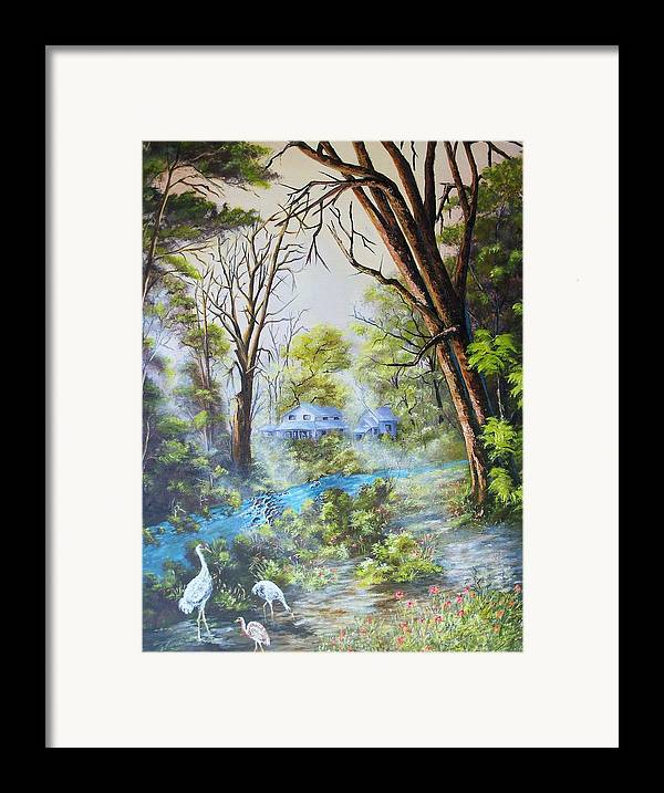 Landscape Framed Print featuring the painting Cranes In The Morning by Dennis Vebert