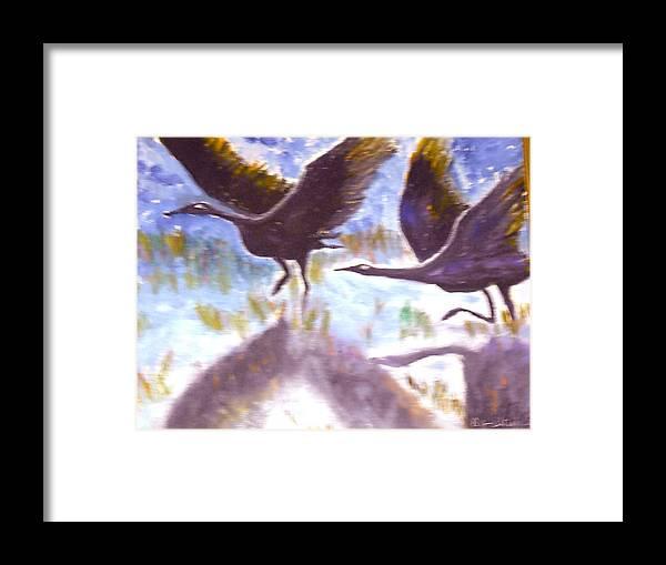 Folk Art Framed Print featuring the painting Cranes N Flight by BJ Abrams