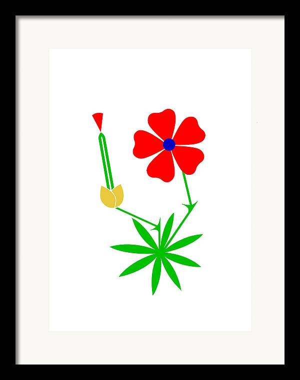 Cranesbill Framed Print featuring the digital art Cranesbill by Asbjorn Lonvig