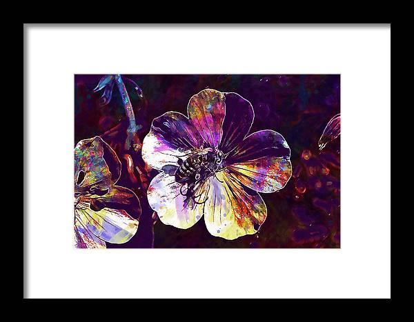 Cranesbill Framed Print featuring the digital art Cranesbill Flower Close Bee Insect by PixBreak Art