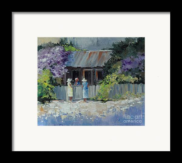 Floral Framed Print featuring the painting Crape Myrtle And Ladies Of Darien by Glenn Secrest