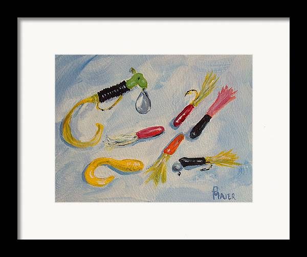 Fishing Framed Print featuring the painting Crappie Lures by Pete Maier