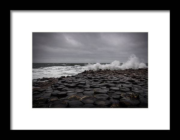 Ireland Framed Print featuring the photograph Crashing Against The Causeway by Alex Leonard