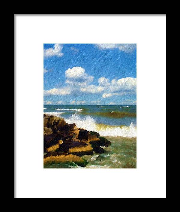 Seascape Framed Print featuring the photograph Crashing Into Shore by Sandy MacGowan