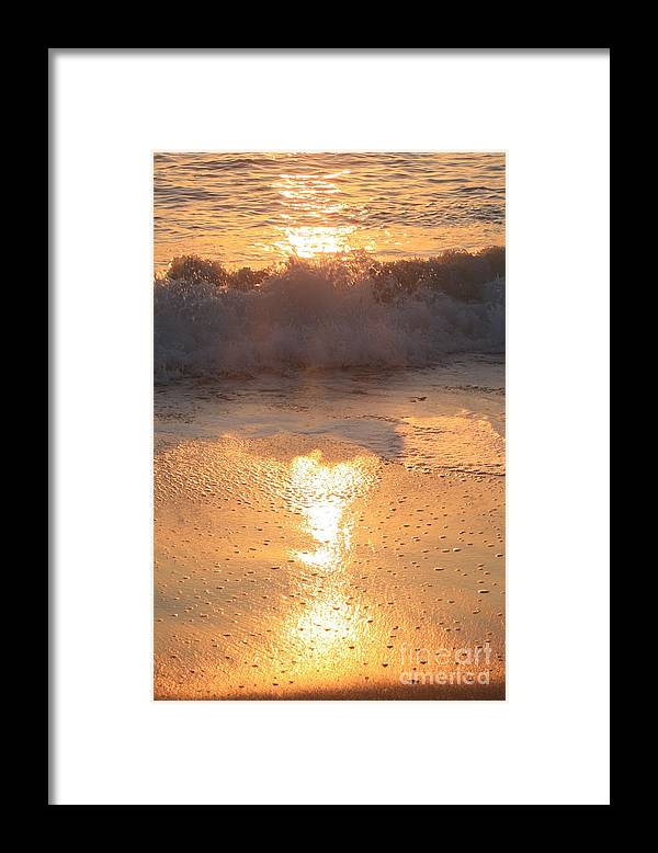 Waves Framed Print featuring the photograph Crashing Wave at Sunrise by Nadine Rippelmeyer