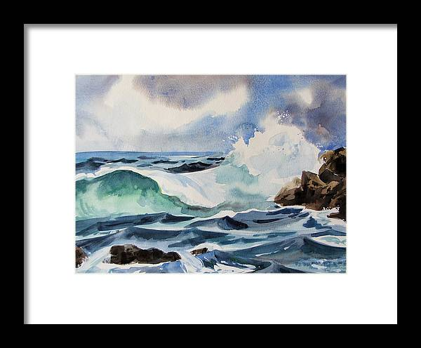 Ocean Framed Print featuring the painting Crashing Wave by Dianna Willman