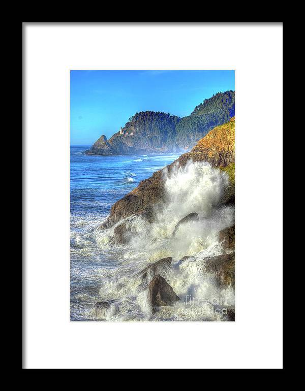 Waves Framed Print featuring the photograph Crashing Waves 100 by Angela Blix