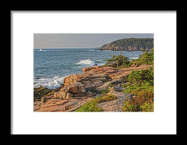 Seascapes Framed Print featuring the photograph Crashing Waves At Otter Cliff by Angelo Marcialis