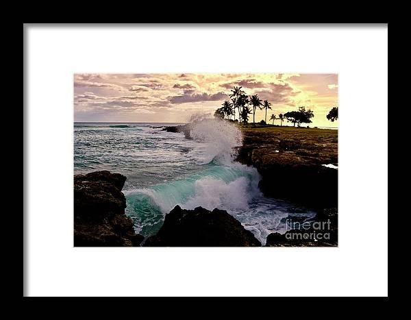 Pokai Bay Framed Print featuring the photograph Crashing Waves At Sunset by Craig Wood