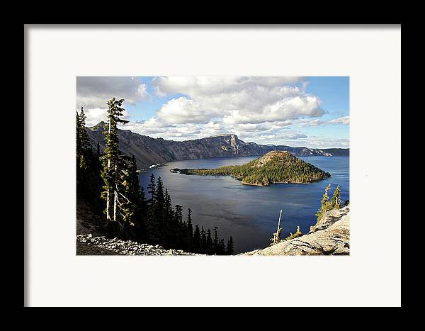 Peaceful Framed Print featuring the photograph Crater Lake - Intense Blue Waters And Spectacular Views by Christine Till