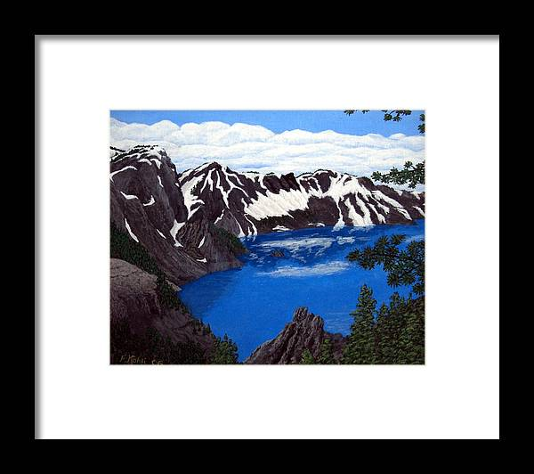 Art Framed Print featuring the painting Crater Lake by Frederic Kohli