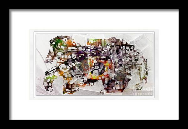 Abstraction Framed Print featuring the digital art Dog 3554 by Marek Lutek
