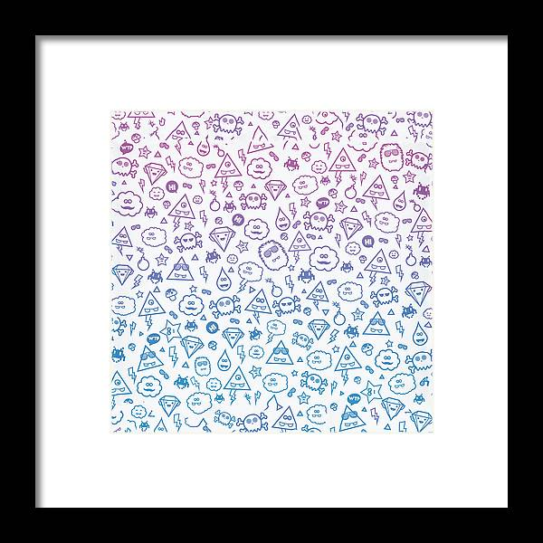 A Collection Of My Cute Monsters :) ! Warning Trend Suspicious! Space Invaders Framed Print featuring the digital art Crazy And Cute Monster Patter In Blue Pink by Philipp Rietz