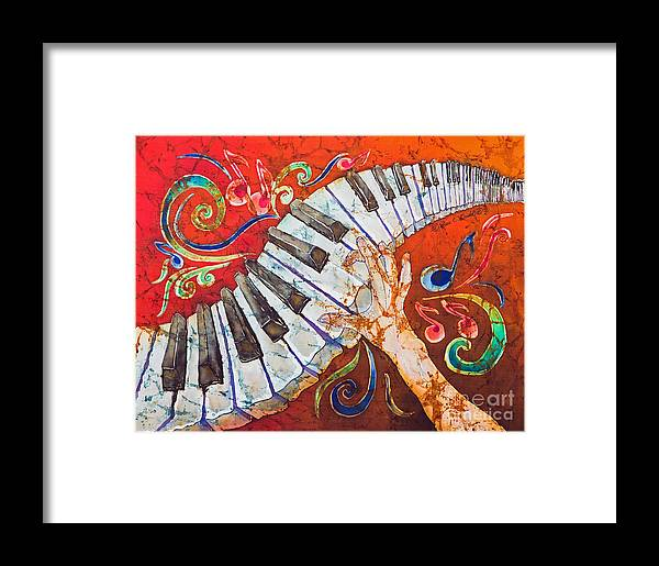 Piano Framed Print featuring the tapestry - textile Crazy Fingers - Piano Keyboard by Sue Duda