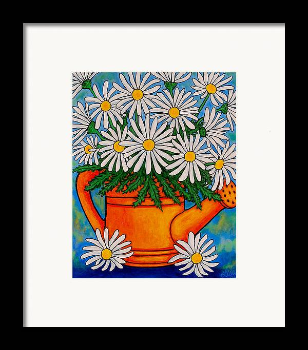 Daisies Framed Print featuring the painting Crazy For Daisies by Lisa Lorenz