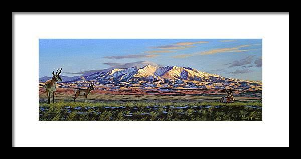 Mountains Framed Print featuring the painting Crazy Mountains-Morning by Paul Krapf