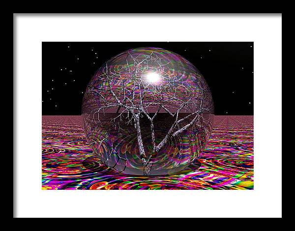 Sphere Framed Print featuring the digital art Crazy World- by Robert Orinski