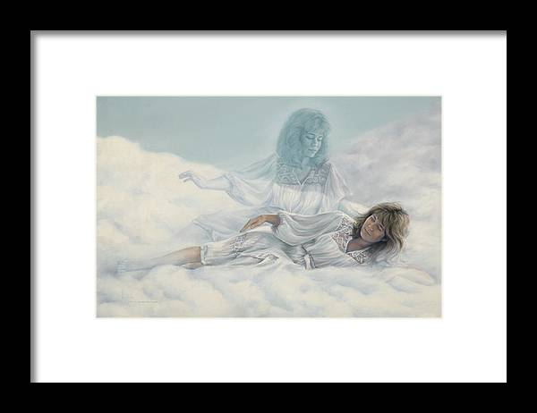 Spirituality Framed Print featuring the painting Creating A Body With Clouds by Lucie Bilodeau