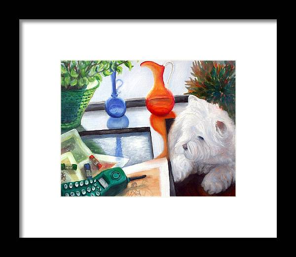 Dog Framed Print featuring the painting Creative Reflections by Minaz Jantz