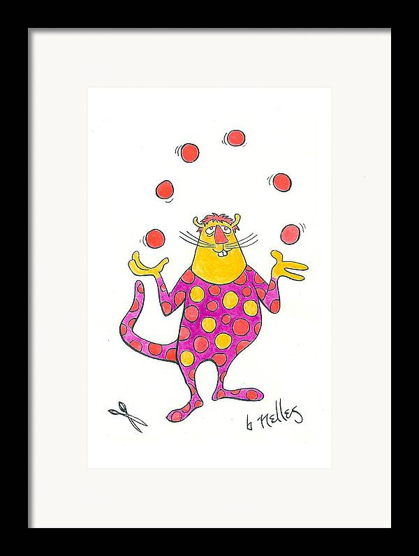 Juggling Framed Print featuring the painting Creature Juggling Polka Dots by Barry Nelles Art