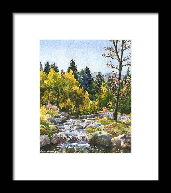 Rocky Mountain Painting Framed Print featuring the painting Creek At Caribou by Anne Gifford