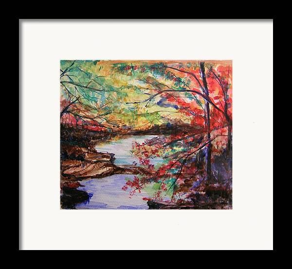 Creek Framed Print featuring the painting Creek Blue Ridge Mountains by Lizzy Forrester