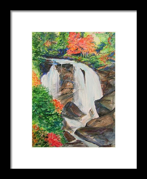 Creek Framed Print featuring the painting Creek In Autumn by Lizzy Forrester