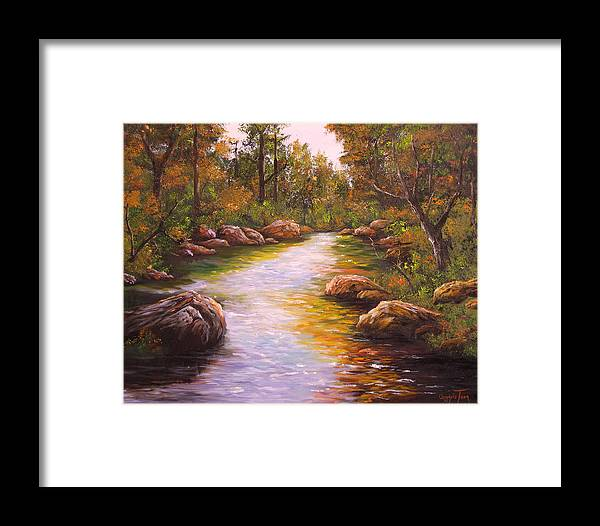 Connie Tom Framed Print featuring the painting Creek Retreat Vii by Connie Tom