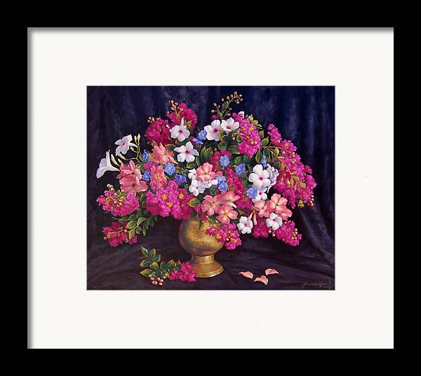 Roses Framed Print featuring the painting Crepe Myrtle And Roses by Johanna Girard