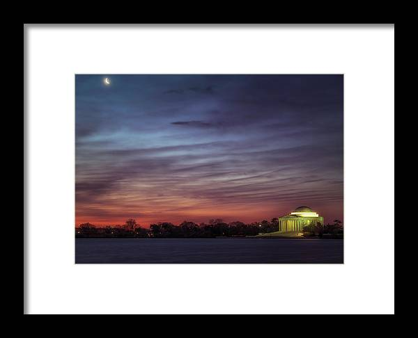 Moon Framed Print featuring the photograph Crescent And Memorial by Larry Helms