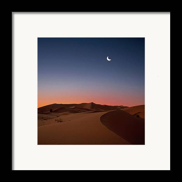 Square Framed Print featuring the photograph Crescent Moon Over Dunes by Photo by John Quintero
