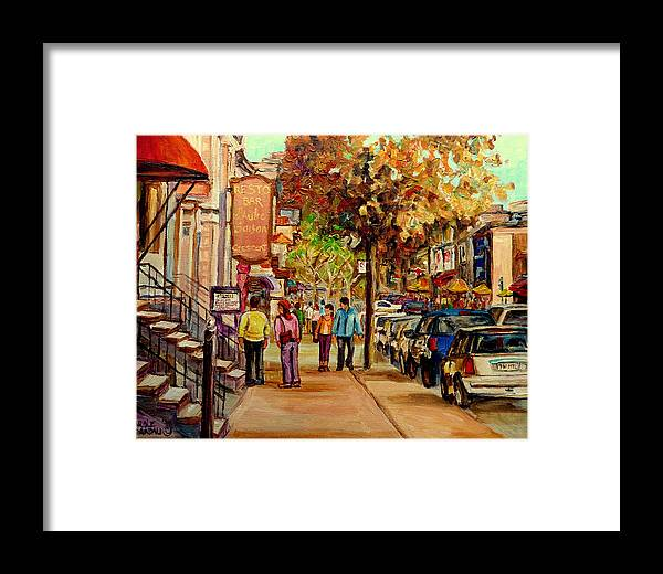 Montreal Streetscenes Framed Print featuring the painting Crescent Street Montreal by Carole Spandau