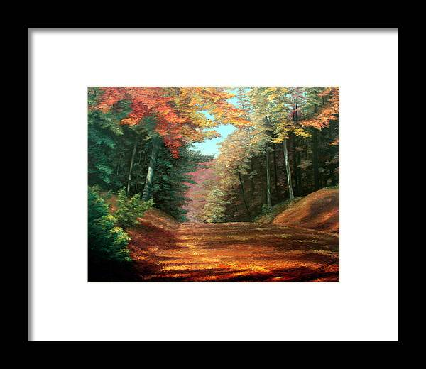 Autumn Woods Framed Print featuring the painting Cressman's Woods by Hanne Lore Koehler