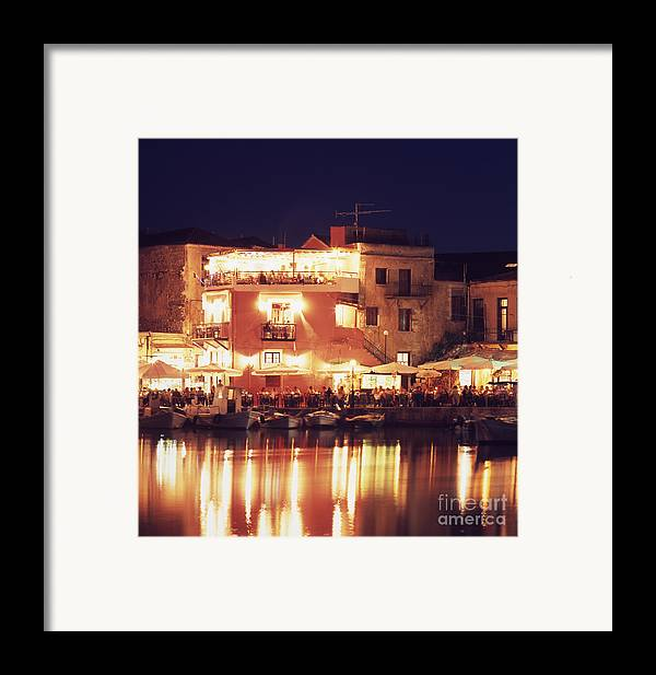 Crete Framed Print featuring the photograph Crete. Rethymnon Harbor At Night by Steve Outram