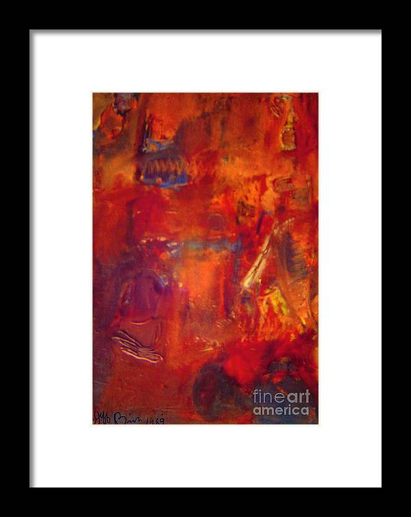 Red Framed Print featuring the painting Crimson Crisis by Jeff Birr