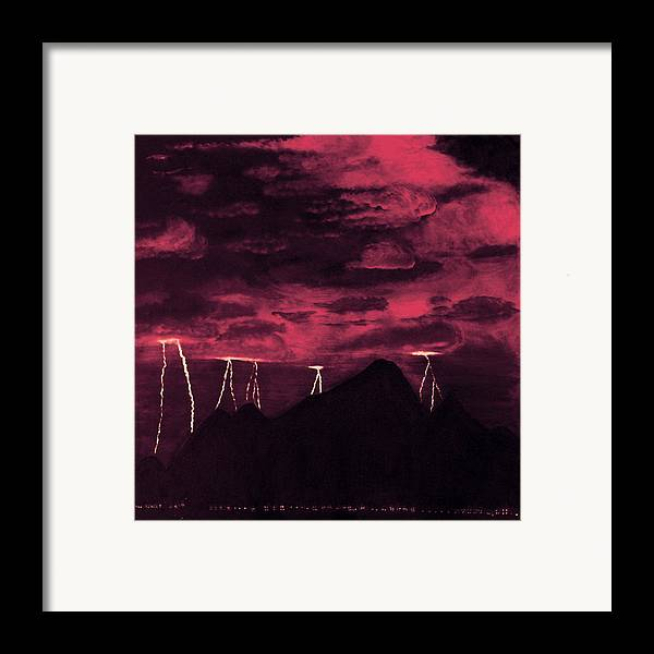 Painting Framed Print featuring the painting Crimson Storm by Dawn Hay