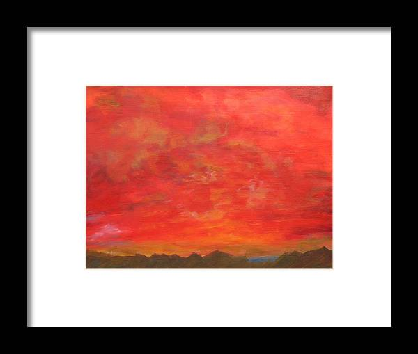Abstract Framed Print featuring the painting Crimson Tempest by Ron Klotchman
