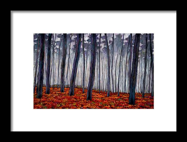 Landscape Framed Print featuring the painting Crimson Walk by Johnathan Harris