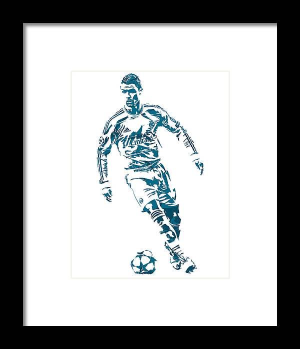 Cristiano Ronaldo Real Madrid Pixel Art 1 Framed Print