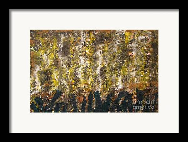 Abstract Framed Print featuring the painting Critters by Don Phillips