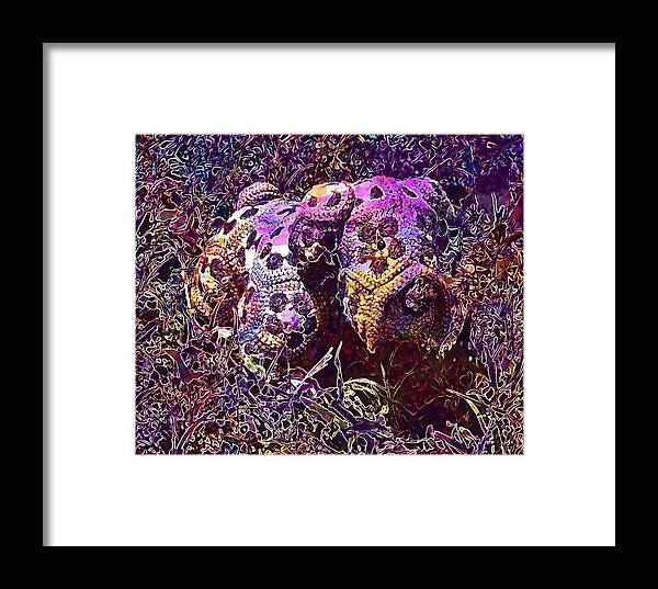 Crochet Framed Print featuring the digital art Crochet Handmade Yarn Needlework by PixBreak Art
