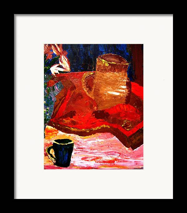 Still Life Framed Print featuring the painting Crock And Coffee by Karen L Christophersen