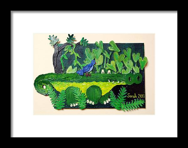 Crocodile Framed Print featuring the mixed media Crocodile Amble by Sarah Swift