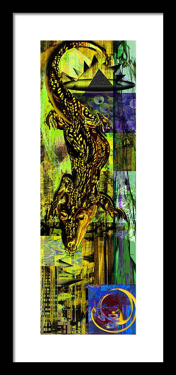 Croc Framed Print featuring the painting Crocodile At Nile by Anne Weirich