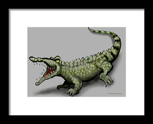 Crocodile Framed Print featuring the greeting card Crocodile by Kevin Middleton