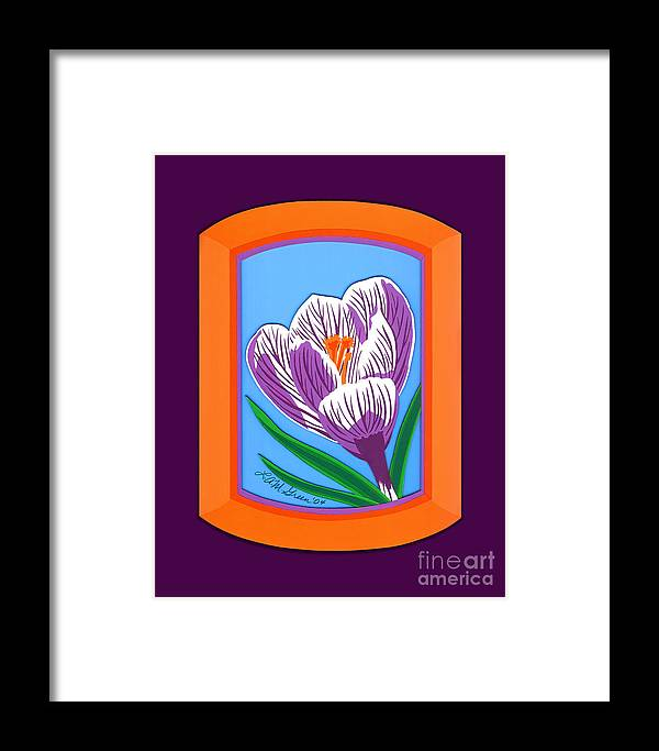 Nature Framed Print featuring the drawing Crocus by Lucyna A M Green