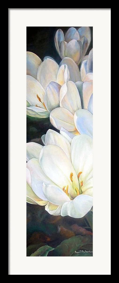 Floral Painting Framed Print featuring the painting Crocus by Muriel Dolemieux