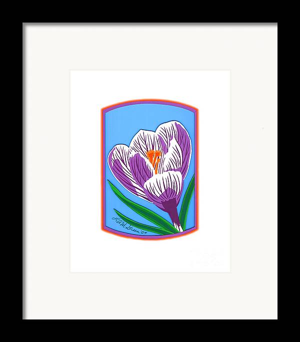 Nature Framed Print featuring the drawing Crocus Too by Lucyna A M Green